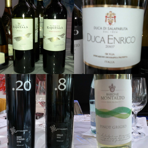A selection of Sicilian wines
